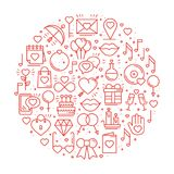 Circle with love symbols in line style. Love couple relationship dating wedding romantic amour concept theme. Unique. Valentine day round print. Elements, icons Royalty Free Stock Images