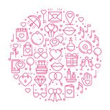 Circle with love symbols in line style. Love couple relationship dating wedding romantic amour concept theme. Unique. Valentine day round print. Elements, icons Royalty Free Stock Photography