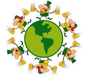 Circle Of Lucky Male And Female Leprechauns Runnin. Lucky Male And Female Leprechauns Runnin vector illustration