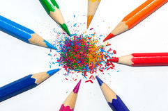 color pencils in a radial shape and crayon shaving Royalty Free Stock Photos