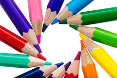 Circle made of colorful pencils Royalty Free Stock Image
