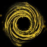 Circle made of glittering particles. Gold glitter particle swirl circle on black background, copy space vector illustration