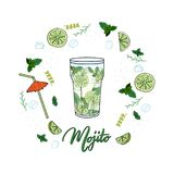 Circle made of hand sketched glass of coctail Mojito stock illustration