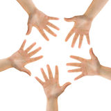 Circle made of hands Royalty Free Stock Photos