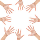 Circle made of hands. Isolated on white background Royalty Free Stock Image