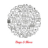 Circle made of line icons. Bags and shoes. Stock Photos