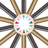 Circle of make up pencils. A set of make up pencils arranged in a circle to create a star shape stock illustration