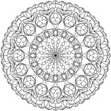 Circle mandala adult coloring page, with tulips motifs. vector illustration