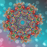 Circle mandala lace hand-drawn kaleidoscope ornament vector card Royalty Free Stock Images