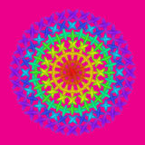 Circle mandala rainbow color on pink Royalty Free Stock Photos