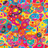 Circle many near abstract seamless pattern. This illustration is drawing many circles and abstract nearest in colorful background seamless pattern Stock Images