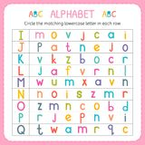 Circle the matching lowercase letter in each row. From I to Q. Worksheet for kindergarten and preschool. Exercises for children. Vector illustration Royalty Free Stock Photo