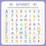 Circle the matching lowercase letter in each row. From A to H. Worksheet for kindergarten and preschool. Exercises for children. Vector illustration Royalty Free Stock Photos