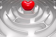 Circle maze and heart on white background. Isolated 3D illustration.  stock illustration