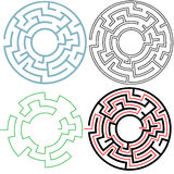 Circle Maze Puzzle 3 Variations Solution. A circle maze in 3 puzzling 3 variations, with separate solution, easy to edit to make your own versions. Copyspace in Stock Image