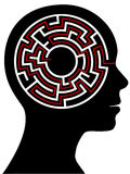 Circle Maze Puzzle as a Brain in a Person Head Stock Photos