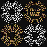 Circle Maze Vector Set. Circle Maze Set. Labyrinth with Entry and Exit. Find the Way Out Concept. Transportation. Logistics Abstract Background Concept Stock Photos