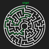Circle Maze Vector. Circle Maze with Solution. Labyrinth with Entry and Exit. Find the Way Out Concept. Vector Illustration Royalty Free Stock Image
