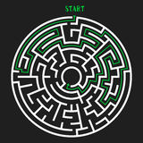 Circle Maze Vector. Circle Maze with Solution. Labyrinth with Entry and Exit. Find the Way Out Concept. Vector Illustration Stock Photos