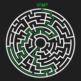 Circle Maze Vector. Circle Maze with Solution. Labyrinth with Entry and Exit. Find the Way Out Concept. Vector Illustration Stock Photography
