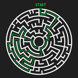 Circle Maze Vector. Circle Maze with Solution. Labyrinth with Entry and Exit. Find the Way Out Concept. Vector Illustration Stock Photo