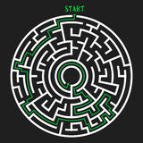 Circle Maze Vector. Circle Maze with Solution. Labyrinth with Entry and Exit. Find the Way Out Concept. Vector Illustration Royalty Free Stock Photo