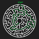Circle Maze Vector. Circle Maze with Solution. Labyrinth with Entry and Exit. Find the Way Out Concept. Vector Illustration Stock Image