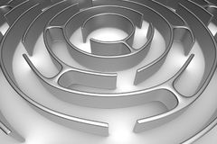 Circle maze on white background. Isolated 3D illustration Royalty Free Stock Photo