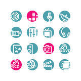 Circle media icons Stock Photography