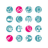 Circle medicine icons. Blue; pink Stock Images