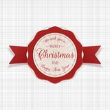 Circle Merry Christmas festive Badge with Text. Circle Merry Christmas modern festive Badge with Text. Vector Illustration Stock Photos