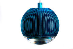 Circle metal blue hanging lamp isolated on white. Modern designer lamp for interiors. Royalty Free Stock Photography