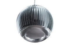 Circle metal gray hanging lamp isolated on white. Modern designer lamp for interiors. Stock Image