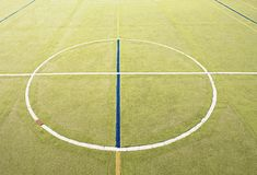 Circle in middle of playground. Empty outdoor handball  court Stock Photography