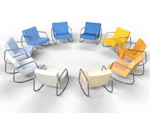 Circle of Modern Armchairs Stock Images
