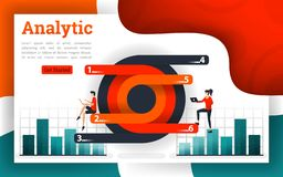 Circle and modern diagrams with analytic charts. Can be use for landing page, web ui, banner, poster, template, flyer. can also be for various fields of stock illustration