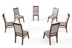 Circle of modern wood chairs Stock Photo