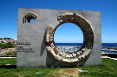 Circle on A Monument at the top of Palamos near cloister of the second Augustinian monastery in Palamos,Spain Stock Photo