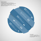 Circle motif askew divided to five blue parts on light Stock Images