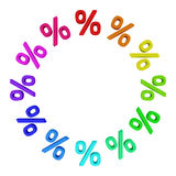 Financial frame. Circle from multicolored percentage symbols on the white background Royalty Free Stock Photo