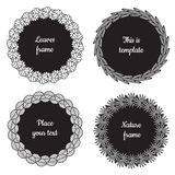 Circle nature frames (black) with leaves (aspen, sea buckthorn, apple tree, palm) vector set. Vintage style. Stock Photos