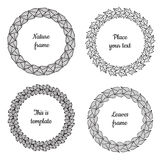 Circle nature frames (black) with leaves (birch, viburnum, ash, lilac) vector set. Vintage style. Stock Images