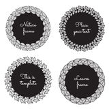 Circle nature frames (black) with leaves (lilac, ash, viburnum, birch) vector set. Vintage style. Perfect for invitations and other design stock illustration