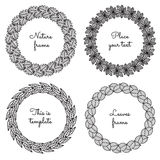 Circle nature frames (black) with leaves (oak, chestnut, willow, linden) vector set. Vintage style. Royalty Free Stock Photos