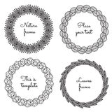 Circle nature frames (black) with leaves (palm, apple tree, aspen, sea buckthorn) vector set. Vintage style. Royalty Free Stock Photos