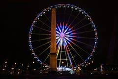 Circle, night view, illumination. France royalty free stock photos
