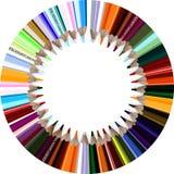 Circle o pencils. A circle of colored pencils Royalty Free Stock Images