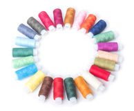 Circle Of Colorful Threads On A White Stock Photography
