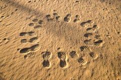 Circle Of Footprints Royalty Free Stock Photography