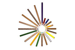 Circle of old crayons, tip inside Royalty Free Stock Photography